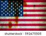 flag of usa on the cracked wall | Shutterstock . vector #592675505