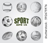 collection of sporting items... | Shutterstock .eps vector #592675976