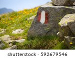 Trail Marker For Hikers In A...