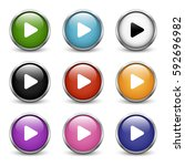 play icons  set of nine colored ... | Shutterstock .eps vector #592696982