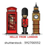 vector set of london city and... | Shutterstock .eps vector #592700552