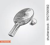 racquet and balll for ping pong ... | Shutterstock .eps vector #592700582