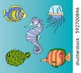 set of sea creatures.   Shutterstock .eps vector #592700846