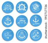 set of vintage fishing labels ... | Shutterstock .eps vector #592717736