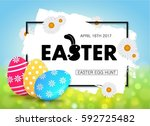 easter egg hunt vector... | Shutterstock .eps vector #592725482