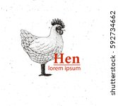 vector illustration hen ... | Shutterstock .eps vector #592734662