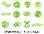 vector eco  natural  organic ... | Shutterstock .eps vector #592735838