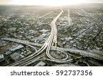 los angeles aerial view from... | Shutterstock . vector #592737356