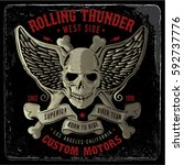 vintage biker graphics and... | Shutterstock .eps vector #592737776