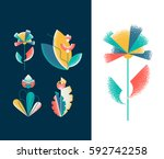 vector set of abstract grain... | Shutterstock .eps vector #592742258