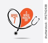 world health day heart and... | Shutterstock .eps vector #592742438