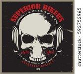 vintage biker graphics and... | Shutterstock .eps vector #592752965