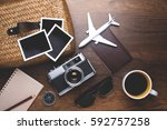 retro camera with empty old... | Shutterstock . vector #592757258