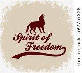 spirit of freedom. hand drawn... | Shutterstock .eps vector #592759328