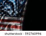 usa flag background with... | Shutterstock . vector #592760996