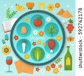 jewish holiday passover seder... | Shutterstock .eps vector #592762178