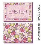 easter. card with frame on the... | Shutterstock .eps vector #592767212