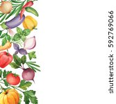 watercolor organic vegetables... | Shutterstock . vector #592769066