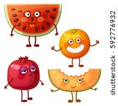 funny fruit characters isolated ...   Shutterstock .eps vector #592776932