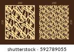 laser cutting set. woodcut... | Shutterstock .eps vector #592789055