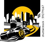 black sports car ready to start ... | Shutterstock .eps vector #59279167