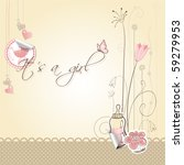 Stock vector baby girl announcement card it s a girl every object on separate layer 59279953
