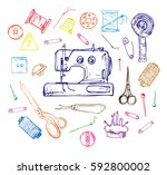hand drawn thread  needle ... | Shutterstock .eps vector #592800002