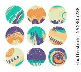 set of creative universal art... | Shutterstock .eps vector #592805288