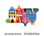 magnetic souvenir with the... | Shutterstock . vector #592805966