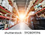 warehouse industrial and... | Shutterstock . vector #592809596
