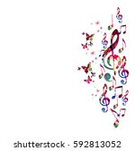 colorful music notes with... | Shutterstock .eps vector #592813052