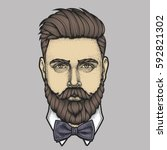 hand drawn portrait of bearded... | Shutterstock .eps vector #592821302