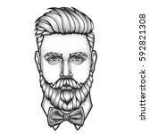 hand drawn portrait of bearded... | Shutterstock .eps vector #592821308