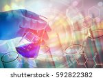 science hand holding laboratory ... | Shutterstock . vector #592822382