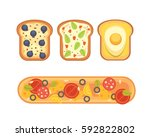set toasts and sandwich... | Shutterstock .eps vector #592822802