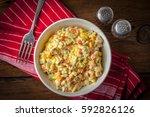 salad with potato  corn  carrot ... | Shutterstock . vector #592826126