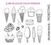 hand drawn ice cream collection ... | Shutterstock .eps vector #592827542