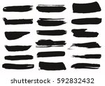 set of black paint  ink brush... | Shutterstock .eps vector #592832432