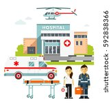 medicine ambulance concept in... | Shutterstock .eps vector #592838366