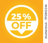 25  off circle sign icon.... | Shutterstock .eps vector #592842146