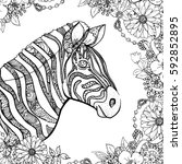 hand drawn ink doodle zebra and ... | Shutterstock .eps vector #592852895