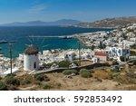 amazing view of white windmills ... | Shutterstock . vector #592853492