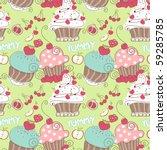 cupcake seamless pattern | Shutterstock .eps vector #59285785