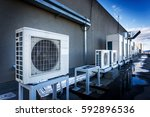 square air conditioning unit on ... | Shutterstock . vector #592896536