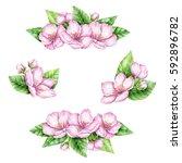 spring blossom border. cherry...   Shutterstock . vector #592896782