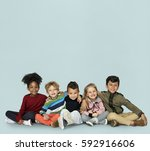 little children together... | Shutterstock . vector #592916606