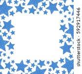 Frame Of Shiny Blue Metal Star...