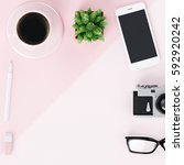 minimal flat lay with glasses ... | Shutterstock . vector #592920242
