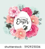 elegant easter day greeting... | Shutterstock .eps vector #592925036
