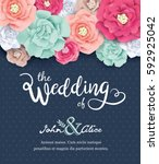 wedding invitation card with... | Shutterstock .eps vector #592925042